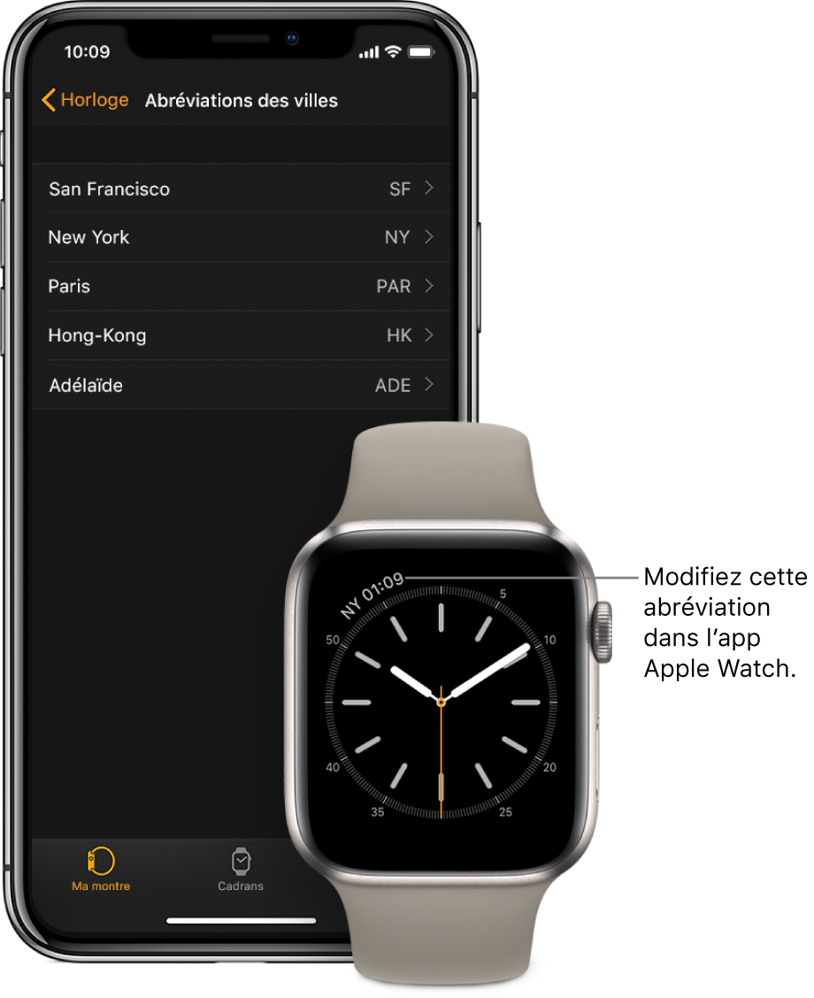 Un iPhone et une AppleWatch, côte à côte. L'écran de l'AppleWatch affiche l'heure à NewYork en utilisant l'abréviation NYC (New York City). L'écran de l'iPhone affiche la liste des villes dans les réglages «Abréviations des villes», dans les réglages Horloge de l'app AppleWatch.