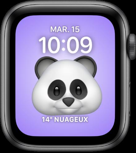 Le cadran Memoji, sur lequel vous pouvez modifier le personnage Memoji et une complication en bas. Touchez l'écran pour animer le Memoji. La date et l'heure sont en haut et la complication Météo est en bas.