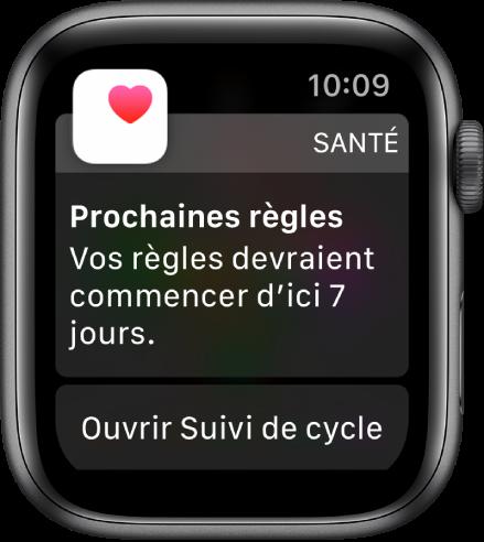 AppleWatch montrant un écran de prédiction de cycle indiquant «Prochaines règles. Vos règles devraient commencer d'ici 7jours.» Un bouton «Ouvrir Suivi de cycle» s'affiche en bas de l'écran.