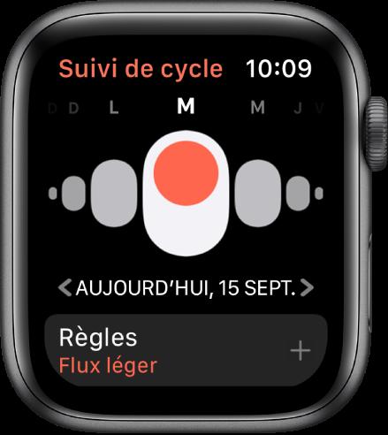 Écran «Suivi de cycle» montrant les jours de la semaine en haut, la date actuelle en dessous et le bouton Règles en bas.