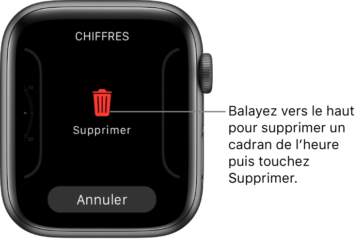 Écran de l'AppleWatch montrant les boutons Supprimer et Annuler, qui apparaissent lorsque vous atteignez un cadran puis le balayez vers le haut pour le supprimer.