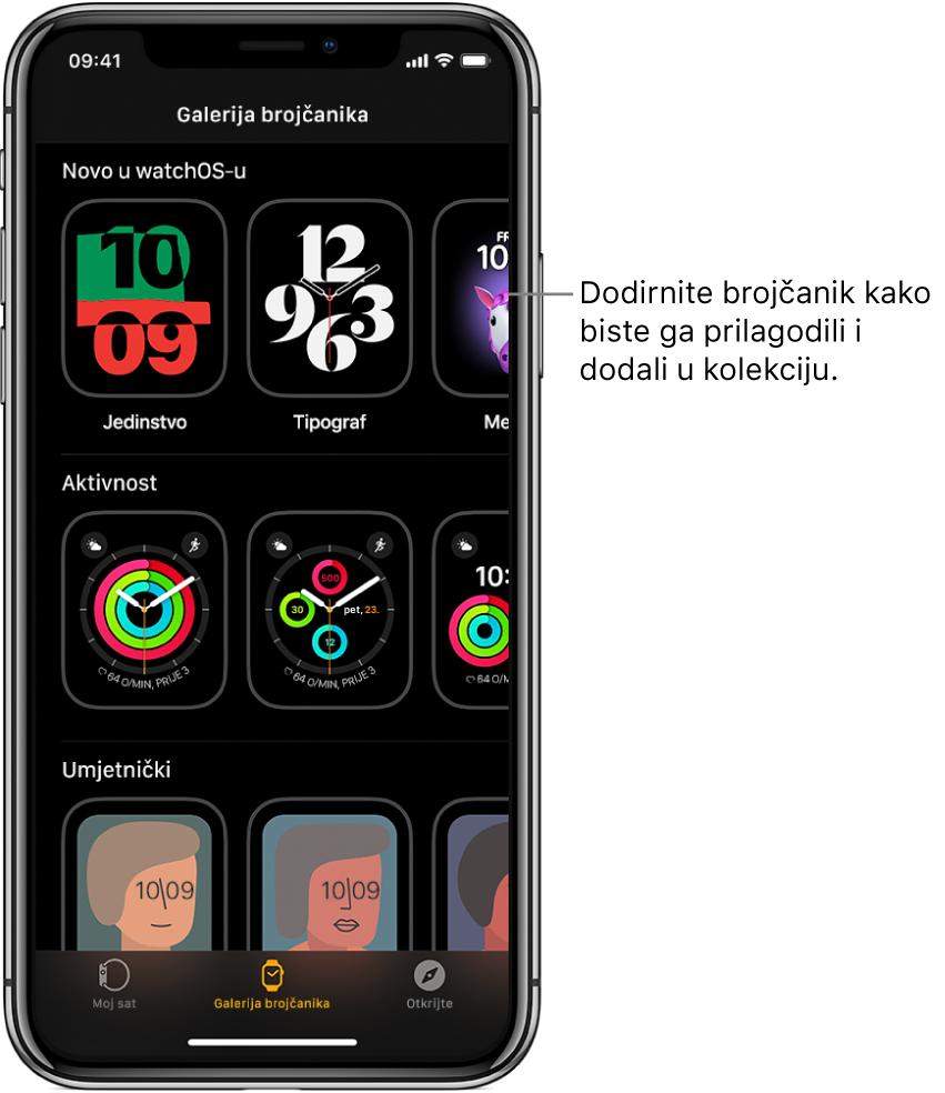 Galerija brojčanika otvorena u aplikaciji AppleWatch. Gornji red prikazuje brojčanike koji su novi, sljedeći red prikazuje brojčanike sata grupirane prema vrsti – Aktivnost i Izvođač, na primjer. Možete listati kako biste vidjeli više brojčanika grupiranih prema vrsti.