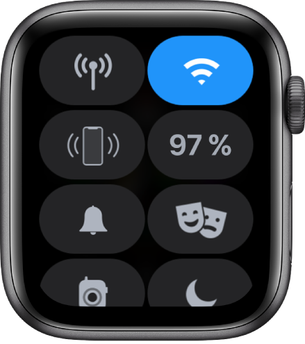 Kontrolni centar s prikazom osam tipki – Mobilni podaci, Wi-Fi, Oglasi iPhone, Baterija, Mod tihog načina rada, Kino mod, Walkie-Talkie i Zabrana ometanja.