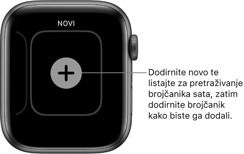 Novi zaslon brojčanika sata, s tipkom plus u sredini. Dodirnite da biste dodali novi brojčanik sata.