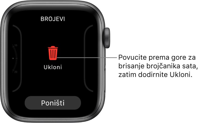 Zaslon aplikacije AppleWatch koji prikazuje tipke Ukloni i Poništi, koji se pojavljuje nakon što povučete na brojčanik sata, zatim povucite prema gore na njega kako biste ga obrisali.