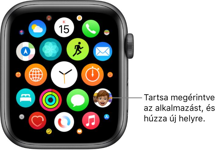 Az Apple Watch Főképernyője rácsnézetben.