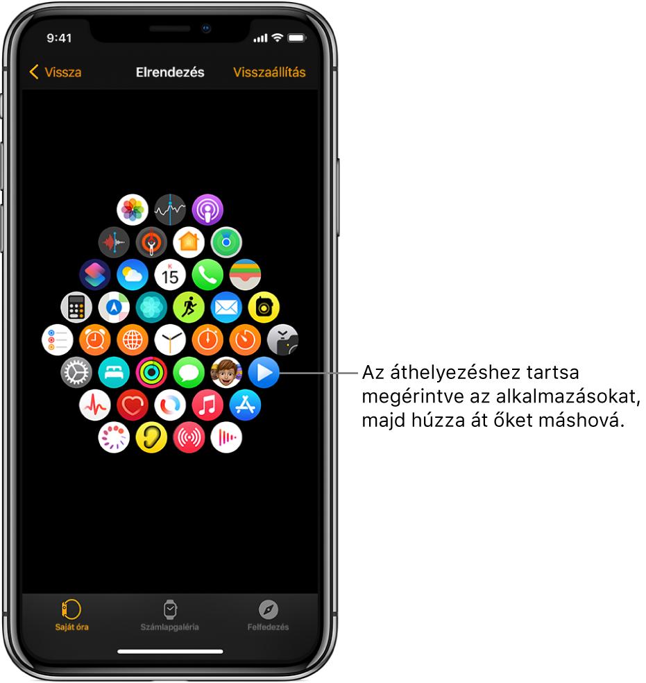 Az Apple Watch alkalmazás Elrendezés képernyője rácson jeleníti meg az ikonokat.