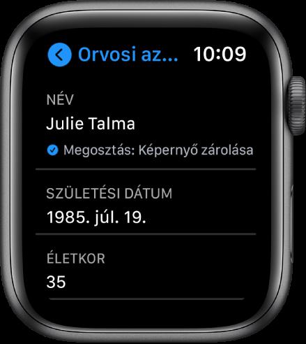 Az Orvosi azonosító képernyője, amelyen a felhasználó neve és életkora látható.