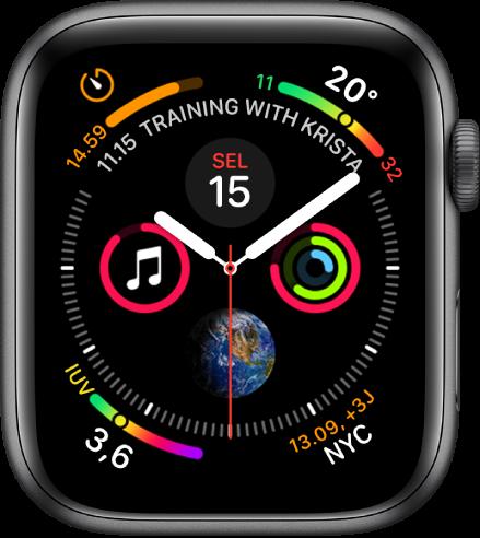 Wajah jam Grafik Info menampilkan komplikasi di setiap pojok dan empat subdial di tengah.
