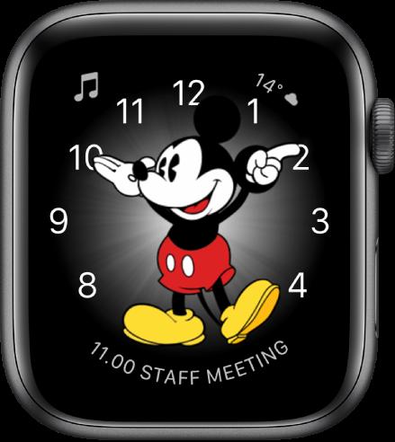 Wajah jam Mickey Mouse, di mana Anda dapat menambahkan banyak komplikasi.