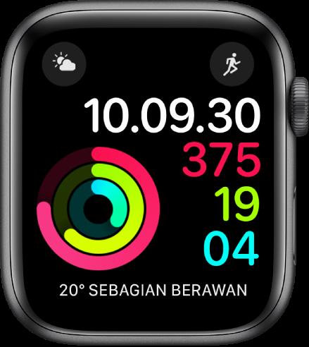 Wajah jam Aktivitas Digital menampilkan waktu serta kemajuan target Bergerak, Latihan, dan Berdiri. Terdapat juga tiga komplikasi: Kondisi Cuaca di bagian kiri atas, Olahraga di bagian kanan atas, dan Cuaca di bagian bawah.