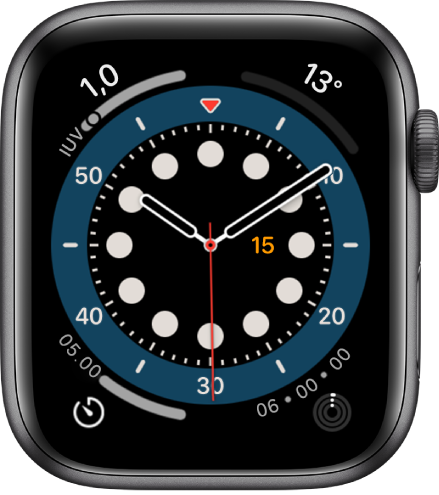 Wajah jam Hitung Maju. Wajah jam ini menampilkan empat komplikasi: Indeks UV terdapat di bagian kiri atas, Suhu di bagian kanan atas, Timer di bagian kiri bawah, dan Aktivitas di bagian kanan atas.