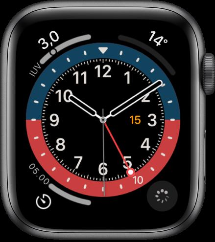 Wajah jam GMT, memungkinkan Anda untuk menyesuaikan warna wajah. Wajah jam ini menampilkan empat komplikasi: Indeks UV terdapat di bagian kiri atas, Suhu di bagian kanan atas, Timer di bagian kiri bawah, dan Pelacakan Siklus di bagian kanan atas.