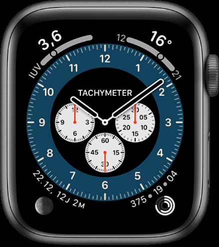 Variasi Tachymeter dari wajah jam Kronograf Pro. Wajah jam ini menampilkan empat komplikasi: Indeks UV terdapat di bagian kiri atas, Suhu di bagian kanan atas, Fase Bulan di bagian kiri bawah, dan Aktivitas di bagian kanan atas.
