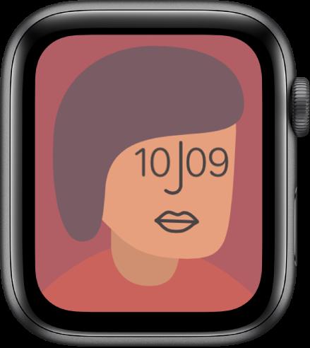 Wajah jam Artis, yang menampilkan waktu. Ketuk wajah jam untuk mengubah desain.