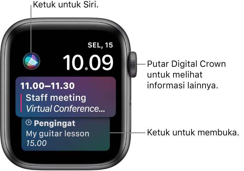Wajah jam Siri menampilkan pengingat dan acara kalender. Tombol Siri berada di bagian kiri atas layar. Tanggal dan waktu berada di bagian kanan atas.
