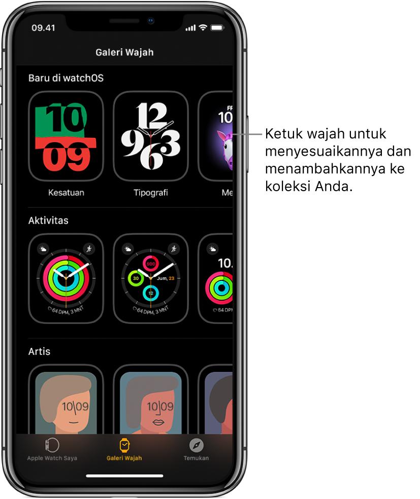 App Apple Watch dibuka ke Galeri Wajah. Baris atas menampilkan wajah baru, baris berikutnya menampilkan wajah jam yang dikelompokkan menurut jenis—Aktivitas dan Artis, misalnya. Anda dapat menggulir untuk melihat lebih banyak wajah yang dikelompokkan menurut jenis.