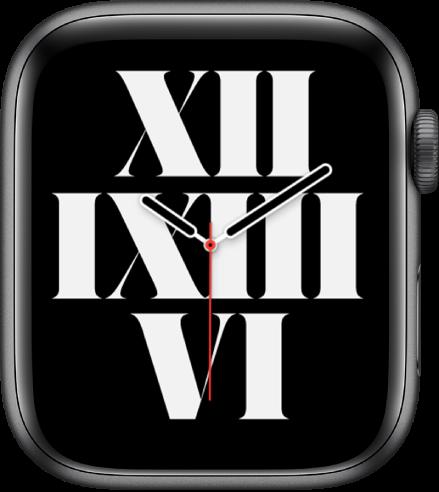 Wajah jam Tipografi menampilkan waktu menggunakan angka Romawi.