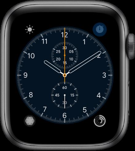 Wajah jam Kronograf, di mana Anda dapat menyesuaikan warna wajah dan detail angka. Wajah jam ini menampilkan empat komplikasi: Cuaca terdapat di bagian kiri atas, Stopwatch di bagian kanan atas, Bernapas di bagian kiri bawah, dan Aktivitas di bagian kanan atas.