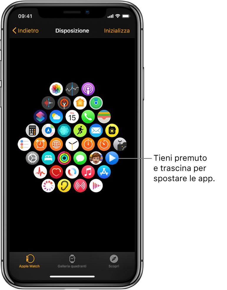 Una schermata Disposizione nell'app Watch che mostra una griglia di icone.