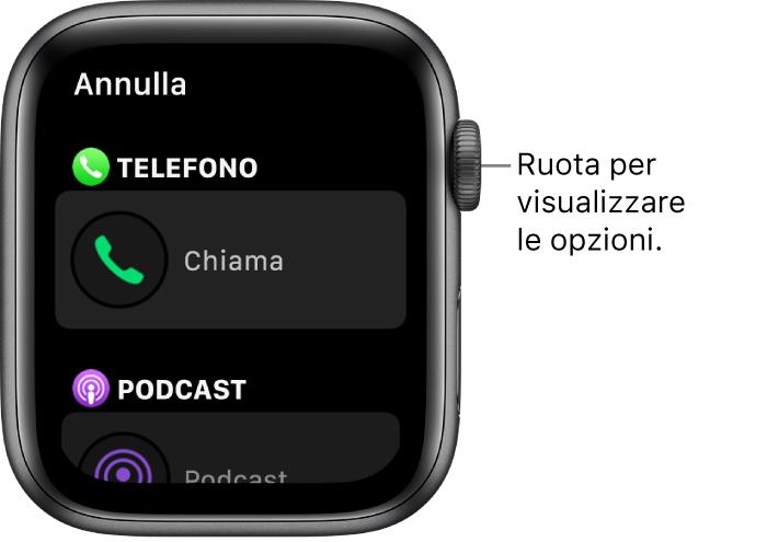 La schermata di personalizzazione del quadrante dove è visibile l'opzione per effettuare una chiamata. Ruota la Digital Crown per sfogliare le complicazioni.