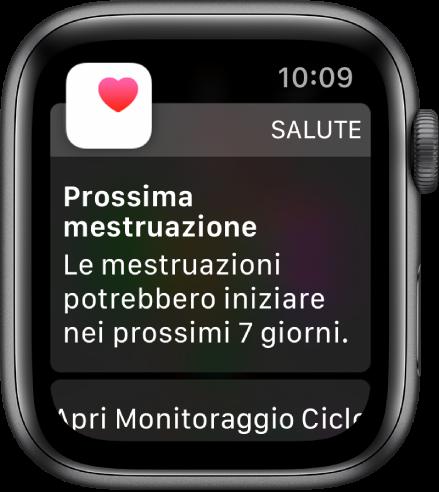"""Apple Watch che mostra la schermata di una previsione di ciclo con il testo """"Prossimo ciclo. Il ciclo potrebbe iniziare nei prossimi 7 giorni."""" Un pulsante """"Apri """"Monitoraggio ciclo"""""""" compare in basso."""