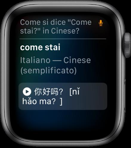 """La schermata di Siri con la frase """"Come si dice 'come stai'"""" in cinese, in alto. La traduzione in cinese semplificato viene visualizzata sotto."""
