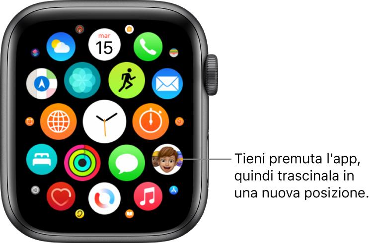 Schermata Home di Apple Watch in vista griglia.