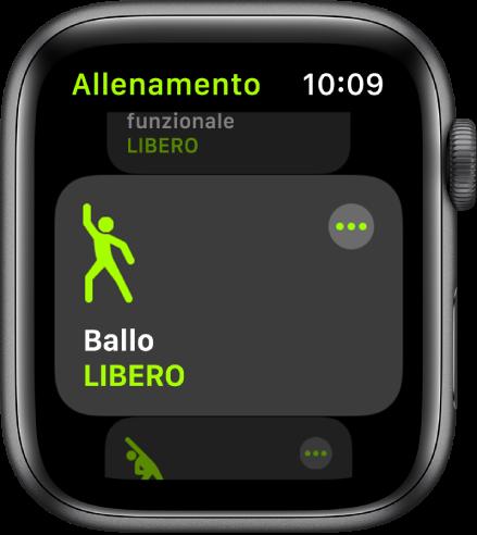 La schermata di Allenamento con un allenamento di ballo evidenziato.