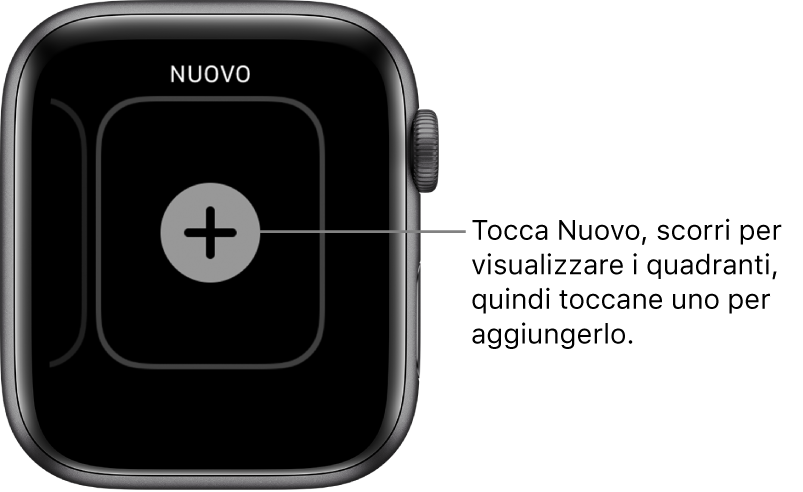 Schermata del nuovo quadrante con il pulsante + al centro. Tocca per aggiungere un nuovo quadrante.