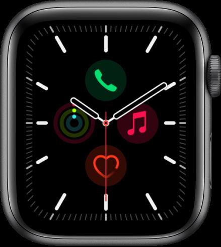 「メリディアン」の文字盤。文字盤のカラーとダイヤルの詳細を調整できます。アナログ時計の文字盤に4つのコンプリケーションが表示されています: 上部に電話、右にミュージック、下部に心拍数、左にアクティビティがあります。