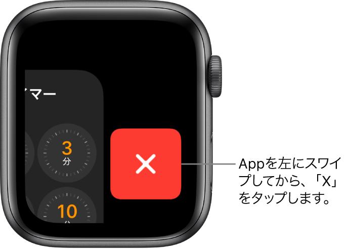 Appを左にスワイプした後のDock。右に「×」ボタンが表示されています。