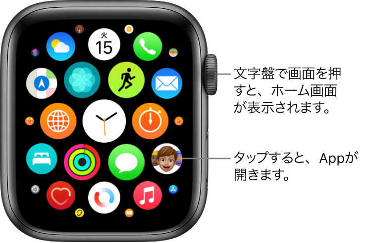 グリッド表示のAppleWatchのホーム画面。Appがまとまって表示されています。いずれかのAppをタップすると、Appが開きます。ドラッグすると、ほかのAppが表示されます。