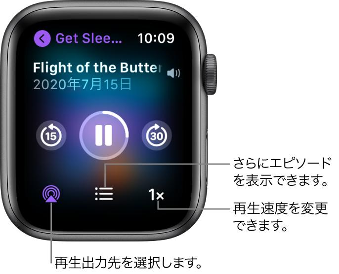 Podcastの「再生中」画面。番組のタイトル、エピソードのタイトル、日付、15秒戻るボタン、一時停止ボタン、30秒進むボタン、AirPlayボタン、エピソードボタン、再生速度ボタンが表示されています。