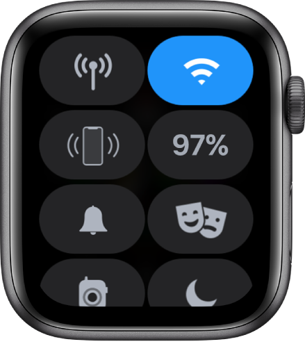 コントロールセンター、モバイル通信、Wi-Fi、iPhone呼出、バッテリー、消音モード、トランシーバー、おやすみモードの8個のボタンが表示されています。