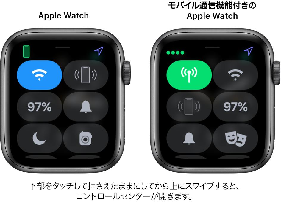 2つのイメージ: 左側はモバイル通信機能のないApple Watch。コントロールセンターが表示されています。左上にWi-Fiボタン、右上にiPhone呼出ボタン、中央左にバッテリー残量ボタン、中央右に消音モードボタン、左下におやすみモードボタン、右下にトランシーバーボタンが表示されています。右側のイメージは、モバイル通信機能付きのAppleWatchを示しています。コントロールセンターの左上にモバイル通信ボタン、右上にWi-Fiボタン、中央左にiPhone呼出ボタン、中央右にバッテリー残量ボタン、左下に消音モードボタン、右下におやすみモードボタンが表示されています。