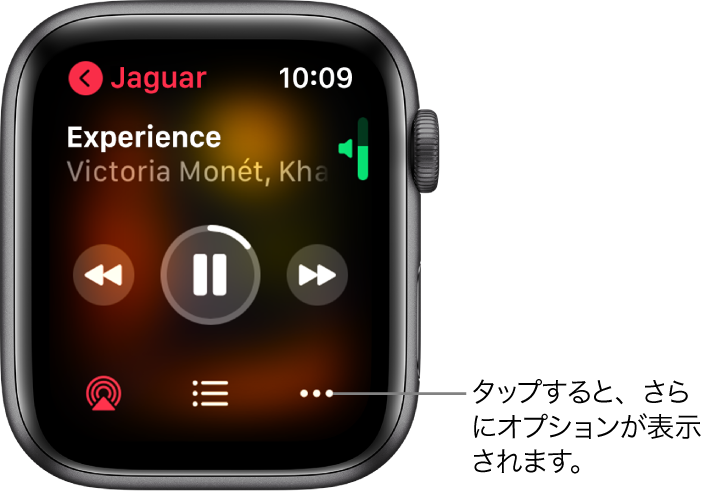 「ミュージック」Appの「再生中」画面。左上にアルバム名があります。上部に曲のタイトルとアーティスト、中央に再生コントロール、下部にAirPlay、トラックリスト、「オプション」ボタンが表示されています。