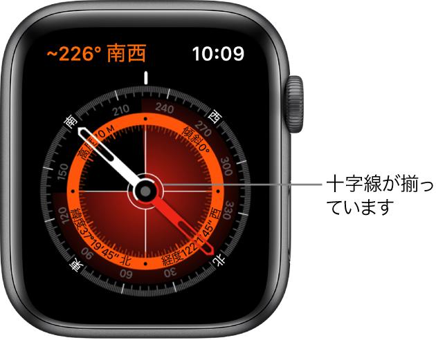 コンパスは、Apple Watchの文字盤に表示されます。左上にあるのが方角です。内側の円には、高度、傾き、緯度経度が表示されます。また、北、南、東、西を指す白い十字線が表示されます。
