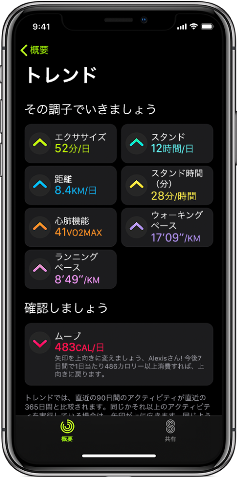 iPhoneの「アクティビティ」Appの「トレンド」タブ。画面上部付近の「トレンド」という見出しの下に、さまざまな測定基準が表示されています。測定基準には、「エクササイズ」、「スタンド」、「距離」などがあります。「ムーブ」は「ぜひご覧ください」という見出しの下に表示されています。