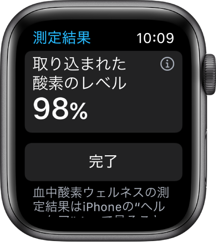 「血中酸素ウェルネス」の結果画面。98%の取り込まれた酸素のレベルが表示されています。下部に「完了」ボタンがあります。