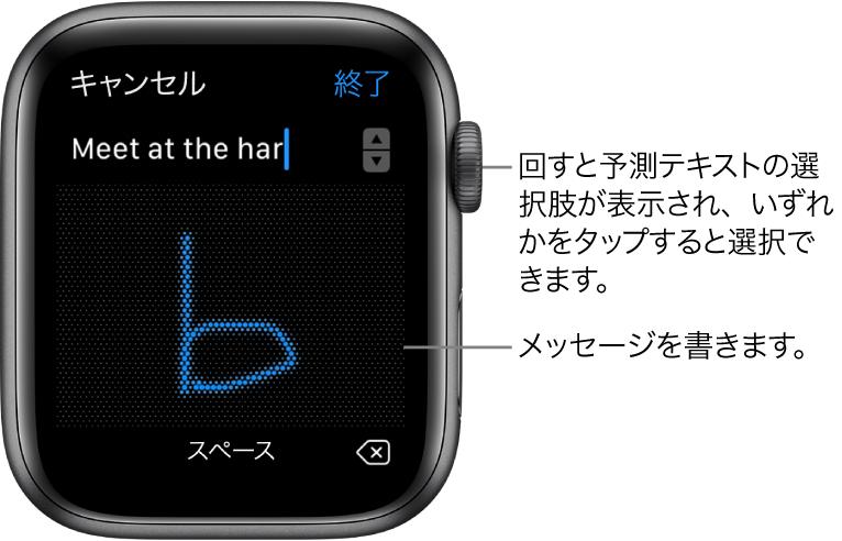 メッセージの返信をスクリブルで入力している画面。上部に予測テキストのオプションが表示され、中央でメッセージを書きます。