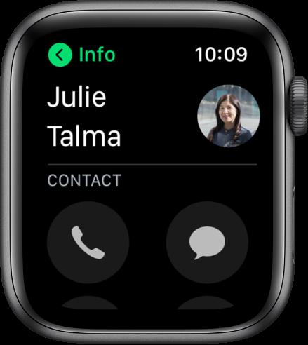 """Ekranas """"Phone"""", kuriame rodomas adresatas ir skambinimo bei pranešimų mygtukai."""