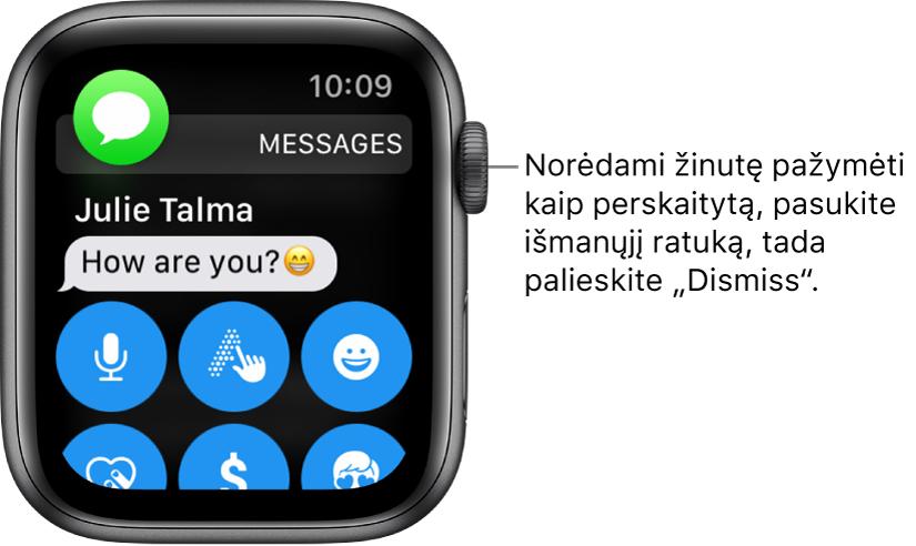 """Žinutės pranešimas, viršuje kairėje pateikta piktograma """"Messages"""", o po ja– žinutė."""