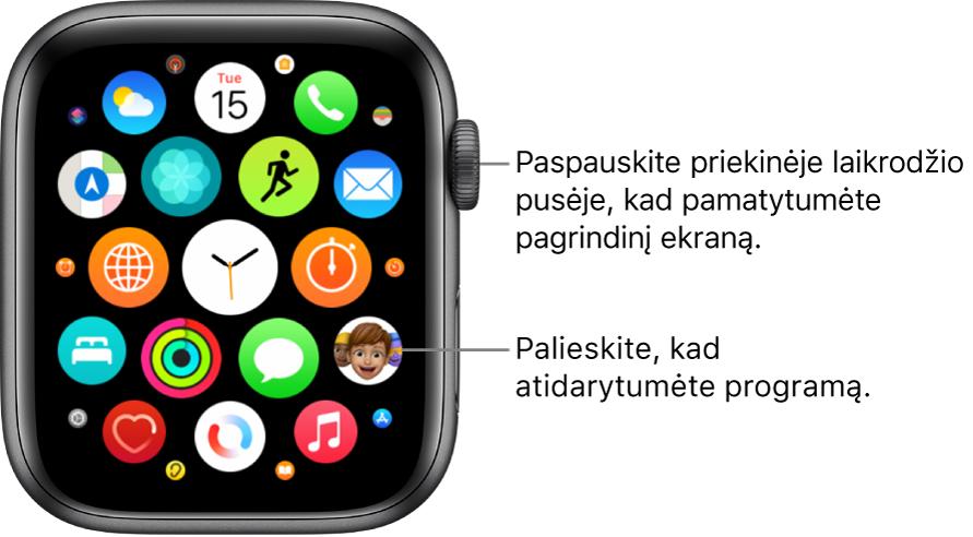 """""""AppleWatch"""" pagrindinio ekrano tinklelio rodinys; programos rodomos kartu viename ekrane. Norėdami programą atidaryti ją palieskite. Vilkite, kad pamatytumėte daugiau programų."""