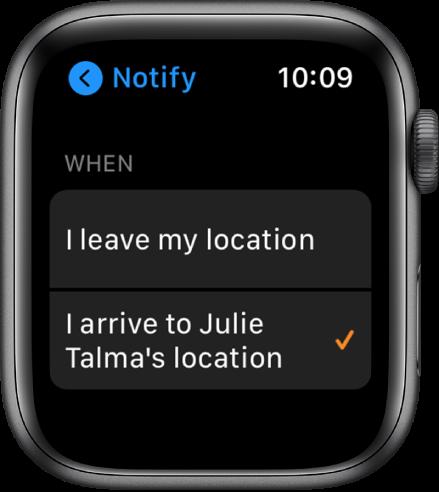 "Programos ""Find People"" ekranas ""Notify"". Pasirinkta ""When I arrive to Julie Talma's location""."