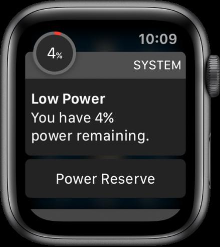 """Senkančios energijos įspėjime pateiktas mygtukas, kurį palietus galima įjungti režimą """"Power Reserve""""."""