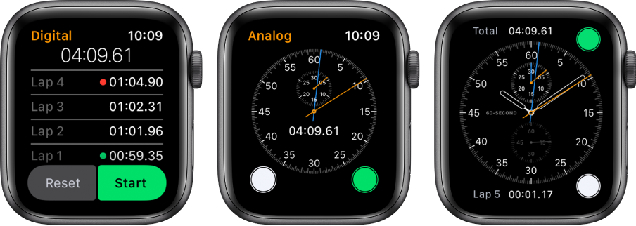 """Trys laikrodžio ciferblatai, nurodantys tris chronometro tipus: skaitmeninį chronometrą programoje """"Stopwatch"""", analoginį chronometrą programoje ir chronometro valdiklius, pateikiamus laikrodžio ciferblate """"Chronograph""""."""