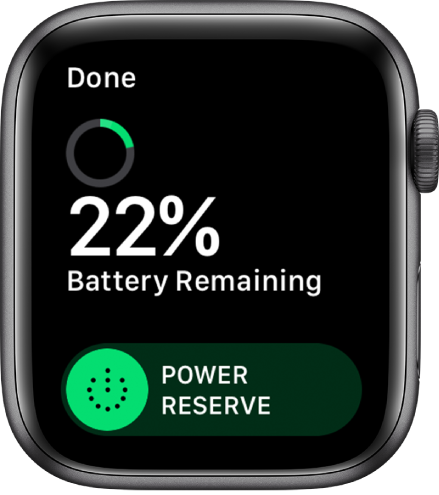 """Ekrano """"Power Reserve"""" viršuje kairėje rodomas mygtukas """"Done"""", o po juo nurodytas likusios akumuliatoriaus energijos procentas ir pateiktas """"Power Reserve"""" slankiklis."""