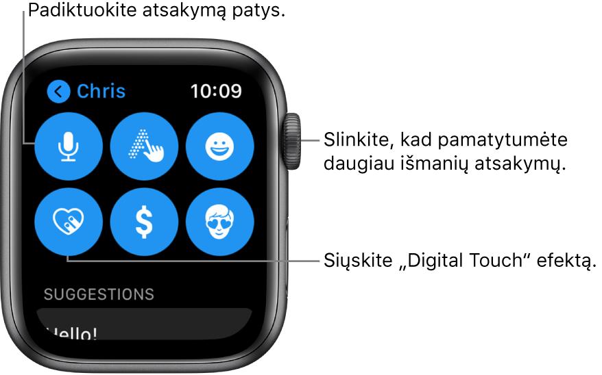 """Atsakymo ekranas, kuriame rodomi mygtukai """"Dictate"""", """"Scribble"""", """"Emoji"""", """"Digital Touch"""", """"Apple Pay"""" ir """"Memoji"""". Išmanieji atsakymai pateikiami toliau. Pasukite """"DigitalCrown"""", kad pamatytumėte daugiau išmaniųjų atsakymų."""