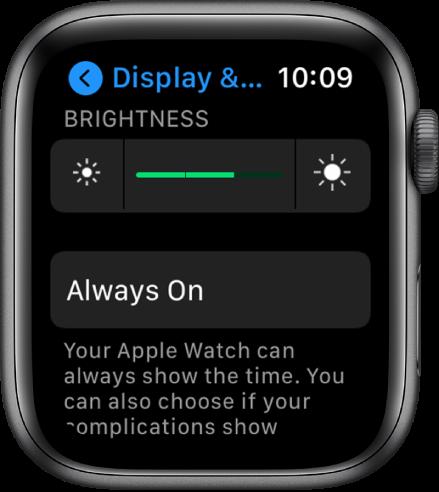 """""""AppleWatch"""" ryškumo nustatymai, """"Brightness"""" slankiklis pateiktas viršuje, o mygtukas """"Always On"""" pateiktas žemiau."""